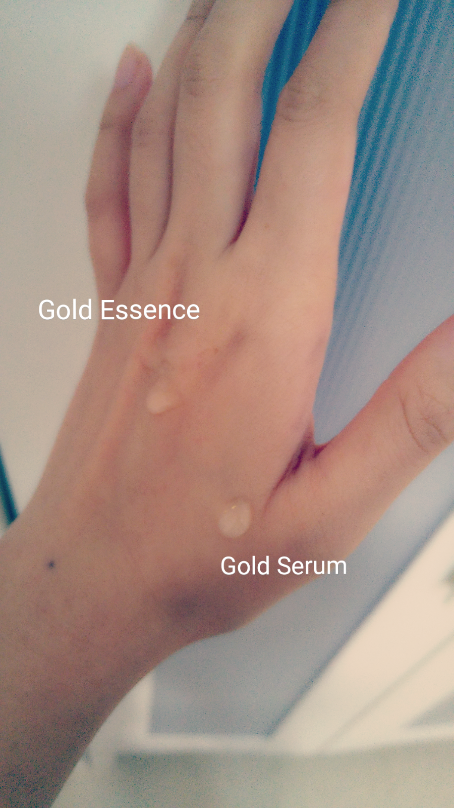 Review Secret Key 24k Gold Premium First Essence Serum Sydsunshine Bioaqua With My Hand Positioned Upwards The Products Have A Thick Texture And Doesnt Drip Much
