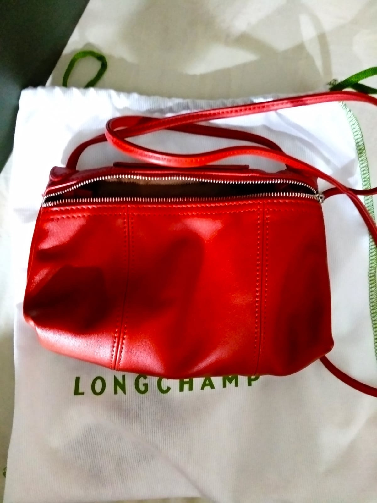 Review: Longchamp Le Pilage Cuir Crossbody in Cherry Colour ...